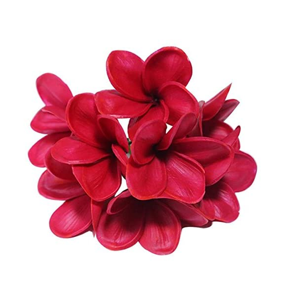 Bunch of 10 PU Real Touch Lifelike Artificial Plumeria Frangipani Flower Bouquets Wedding Home Party Decoration Mother's Day Memorial Day Decoration Gift (Wine Red)