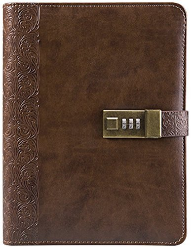 Business Journal With Combination Lock (Diary With Combination Lock) A5 (8.5 X 5.8 Inch) The PU Leather Combination Lock Journal (Combination Lock Diary) Is A Refillable Leather Journal (coffee) ()