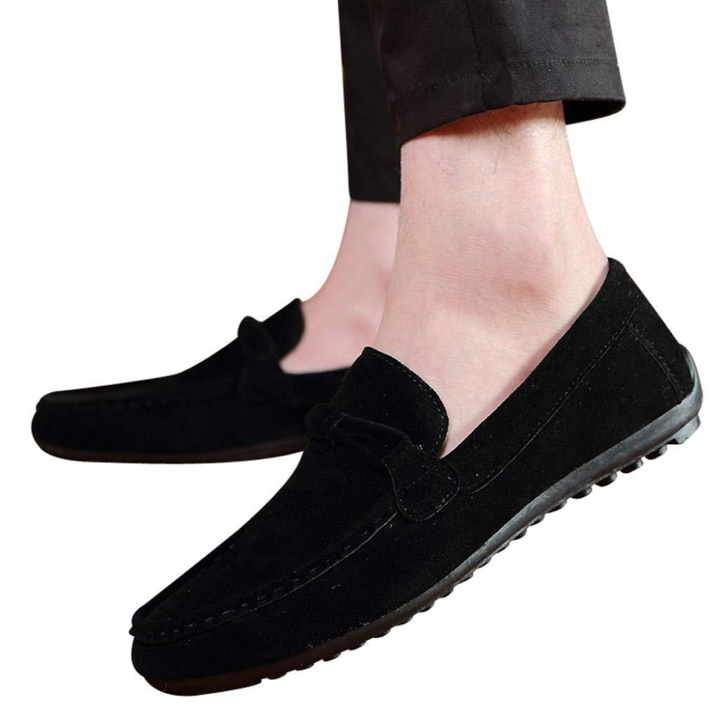 HTHJSCO Men's Shoes, Fashion Suede Beanie Shoes Lazy Men's Shoes Single Shoes (39, Black)