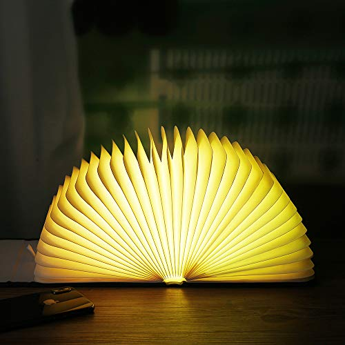 Bling Bling Book Lamp Folding Portable Desk Light Novelty LED Lantern with USB Rechargable Wooden