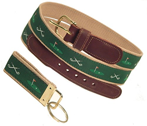 Clubs/18th Hole Belt, Green (w/ Khaki Web), Sizes 30 to 50, FREE Matching Key Ring (Size 38) (Size 50 Note)