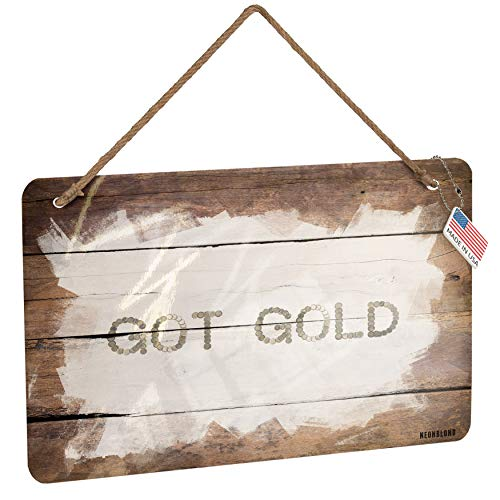 NEONBLOND Metal Sign Got Gold Euro Coins Money Christmas Wood Print