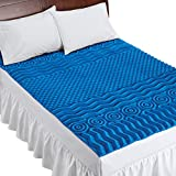 Deluxe Cooling Mattress Pad Topper with 7 Zone Support Construction - Made in USA, Blue, Queen - Made in The USA