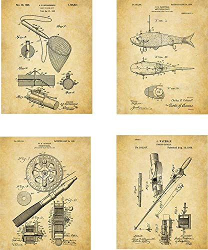- Fishing Patent Wall Art Prints - set of Four (8x10) Unframed - wall art decor for fishing fans