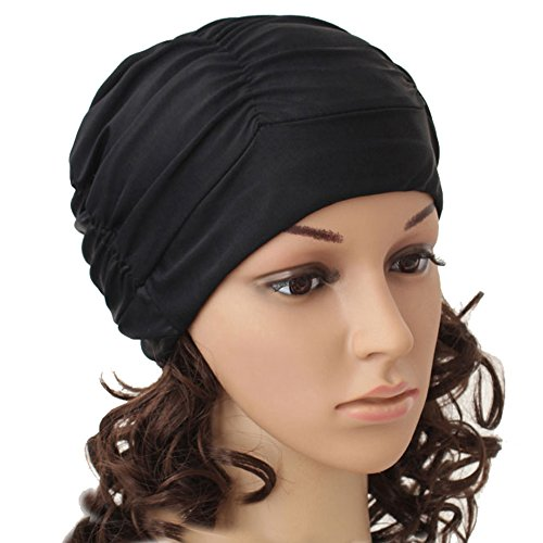 Eforstore Swimming Caps Long Hair Swim Cap Pleated Cloth Fabric Bathing Hats Lycra Beanie Hat for Adult Men Women(Black)
