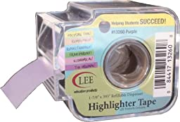 Lee Products Co. 1 7/8-Inch Wide, 393-Inch Long Removable Highlighter Tape with Refillable Dispenser, Purple (13260)