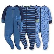 Gerber Onesies Baby Boy Sleep N Play Sleepers 3 Pack (Newborn, Dino Roar)
