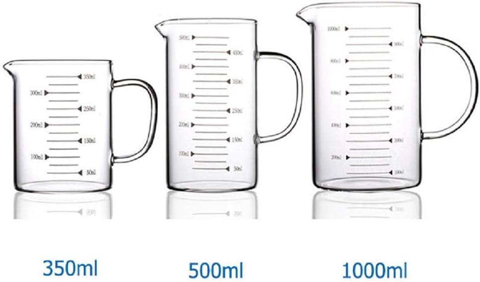 Bingpong - Taza medidora de cristal con boquilla resistente al calor, 350 ml, 500 ml, 1000 ml, apta para lavavajillas y microondas 350 ml
