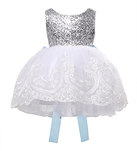 Girl Luxurious White Embroidered Skirt Sleeveness Lace Princess Dresses (7-8T, White) (Beautiful Baby Lace Skirt)