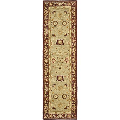 Safavieh Anatolia Collection AN556A Handmade Traditional Oriental Sage and Burgundy Wool Runner (2'3