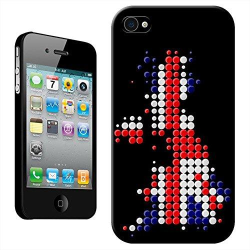 Union Jack on Dotted UK Modern Art Coque arrière rigide détachable pour Apple iPhone modèles, plastique, iPhone 4/4s