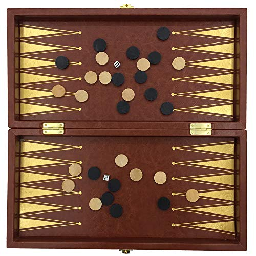 (JSGJZY Game Leather Surface Backgammon & Checkers & Chess 3 in 1 Chessboard Size 34 cm x 34 cm Large Chess Set Wooden Table & Pieces Gift )