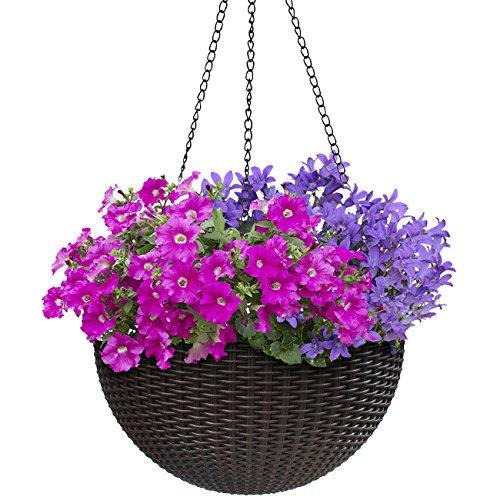 - Sorbus Hanging Planter Round Self-Watering Basket, Resin Woven Wicker Style Flower Pot, Indoor/Outdoor Great for Home, Garden, Patio - Espresso Brown (Medium)