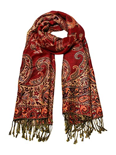 Paisley Jacquard Scarf Women's Fashion Shawl Long Soft Accent Wrap In (Lurex Accents)