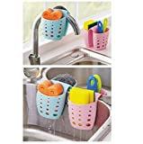 Grocery House Sponge Sink Holder, Hanging Silicone Kitchen Gadget Storage Organizer, Baskets Drain Bag (Pink)