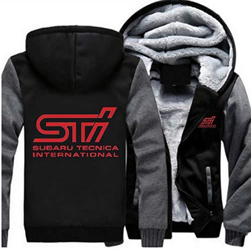 Men Sport Zipper Jackets Subaru STI Car Brand Logo Print Cotton Thicken Hoodies
