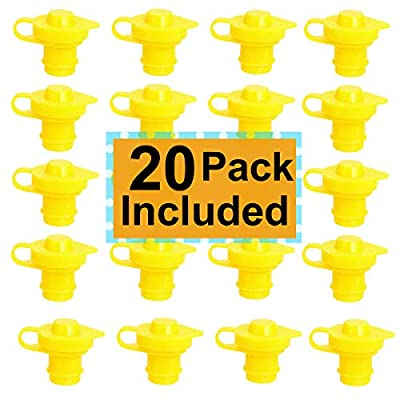 ORANDESIGNE 20PCS Gas Can Vent Cap Replacement Gas Container Breather Push in Vent Cap Part Allow for Faster Flowing Fuel Fit Any Fuel Gas Water Diesel Can Yellow: Automotive