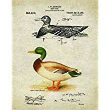Duck Goose Call Hunting Decoy Patent Print Poster Art Reproduction 11x14 Black Yellow Lab Labadore Call Wall Decor Pictures