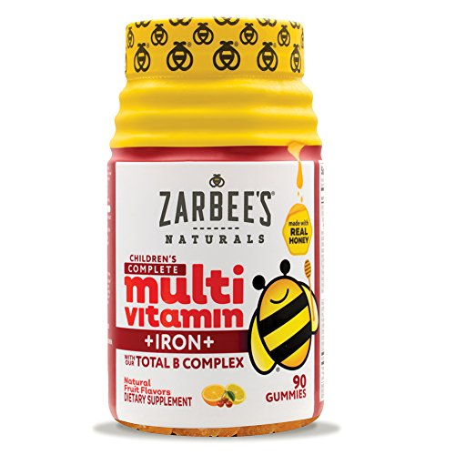 Zarbee's Naturals Children's Complete Multivitamin + Iron Gummies with Our Total B Complex and Essential Vitamins, Natural Fruit Flavors, 90 Gummies by Zarbee's Naturals