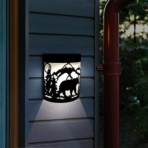 Upgrade Solar Powered 6 Wall Mount Lights Landscape Color ChangingGarden Yard Fence Outdoor Deck Lights Bear