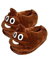 NOPTEG Unisex Emoji Soft Cute Cartoon Slippers Winter Warm Plush Indoor Home Shoes (Poop)