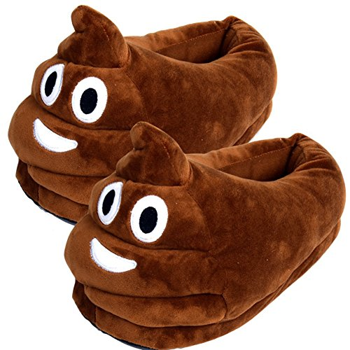 ECHI Emotion Cute Cartoon Slippers, Creative Expression Winter Soft Warm Plush Cute Cartoon Slippers Indoor Home Unisex Adult Shoes (Poop Shape)