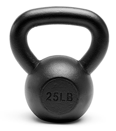Unipack Premium Quality Powder Coated Solid Cast Iron Kettlebell Weights 25 lbs Black For Sale
