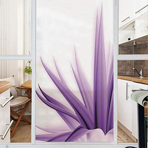 Decorative Window Film,No Glue Frosted Privacy Film,Stained Glass Door Film,Purple Ombre Long Leaves Water Colored Print with Calming Details Image,for Home & Office,23.6In. by 47.2In Purple and White