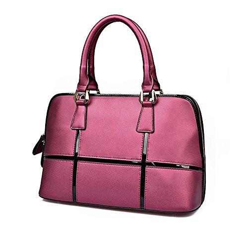 Women's Leather Top Handle QZUnique Bag Genuine Zippered Red Cross Shoulder Body UqndnPH