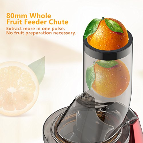 Elechomes CJ201 Slow Masticating Juicer Extractor with Wide Chute (200W AC Motor, 45 RPMs, 3'' Big Mouth) Anti-Oxidation Lower Noisy - Vertical Masticating Cold Press Juicer by Elechomes (Image #5)