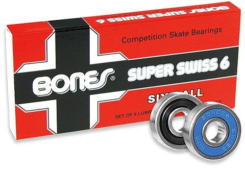 Bones Super Swiss 6 Skateboard Bearings 8 Pack ()