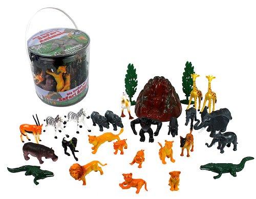 Big Bucket of Wild Animal Safari Action Figures 30-Pack