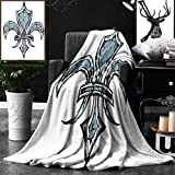 Unique Custom Double Sides Print Flannel Blankets Fleur De Lis Decor Grungy Lily Retro Renaissance Spirit Element Victory Holy Artwork P Super Soft Blanketry for Bed Couch, Twin Size 60 x 70 Inches