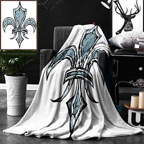 Unique Custom Double Sides Print Flannel Blankets Fleur De Lis Decor Grungy Lily Retro Renaissance Spirit Element Victory Holy Artwork P Super Soft Blanketry for Bed Couch, Twin Size 60 x 70 Inches by Ralahome