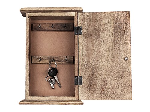 Vintage Style Wooden Key Cabinet With 6 Hooks Key Ring