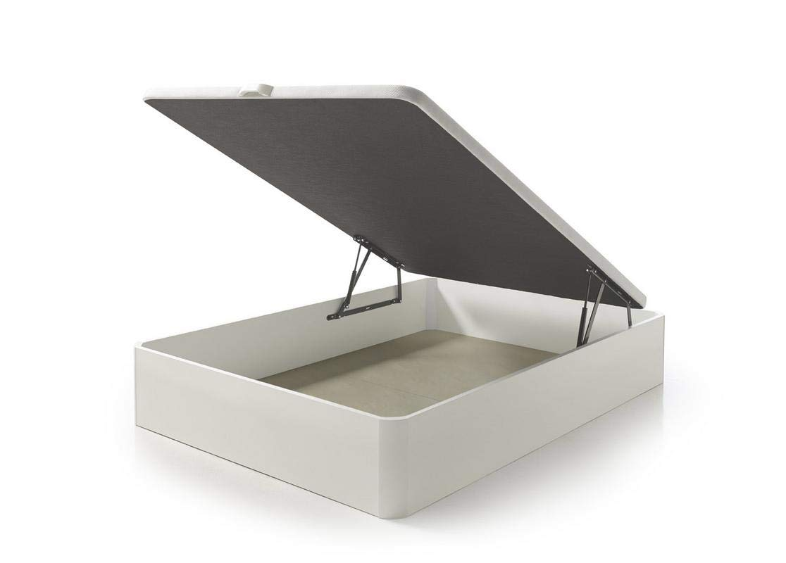 SUENOSZZZ- Canapé Alta Capacidad Fabricado en Madera Color Blanco. Incluye Tapa tapizada Tejido 3D Blanco. Medidas: 135 x 180 cm. Altura del cajón: 32 cm.