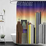 home1love Large Shower Curtain,Detroit Retro Style Downtown Illustration Metropolis High Rise Buildings Urban Modern Life,Shower Curtains in Bath,W94x72L,Multicolor