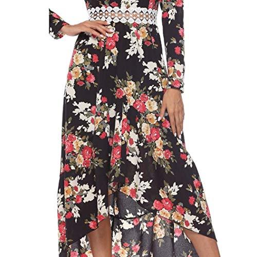 Robes Col Imprim Noir Longues Bringbring Manches Robe Maxi Plage Longue Chic Fleur Femme de V wUWXH8Zq7g