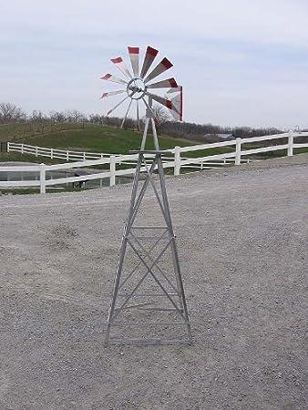 6 Ft Premium Aluminum Decorative Garden Windmill  Red Trim