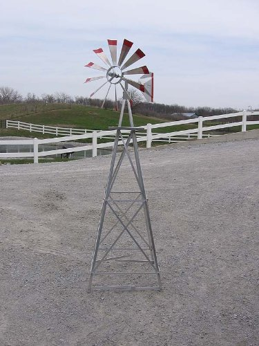 6 Ft Premium Aluminum Decorative Garden Windmill- Red Trim by Winguard