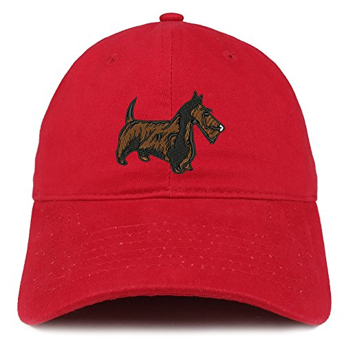 - Trendy Apparel Shop Scottish Terrier Dog Embroidered Soft Cotton Dad Hat- RED
