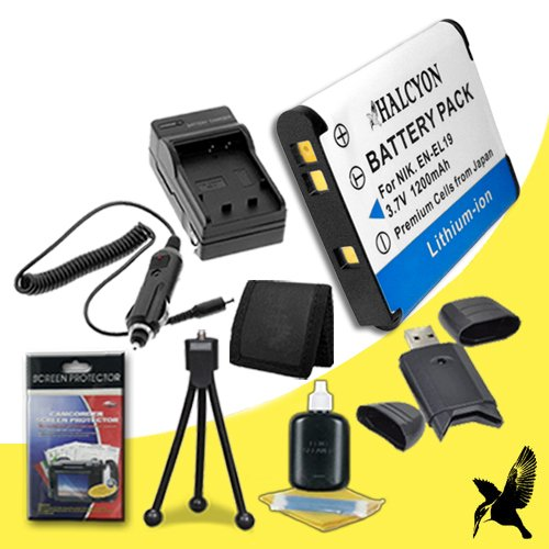 Halcyon 1200 mAH Lithium Ion Replacement EN-EL19 Battery and Charger Kit + Memory Card Wallet + SDHC Card USB Reader + Deluxe Starter Kit for Nikon Coolpix S100, COOLPIX S2600, COOLPIX S3100, COOLPIX S3300, COOLPIX S4100, COOLPIX S4300, Coolpix S6400, COO by Halcyon