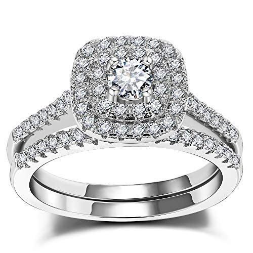 (3UMeter 925 Solid Sterling Silver Bridal Wedding Band Engagement Ring Sets with CZ Diamond for Women Fashion Ring Size 9)
