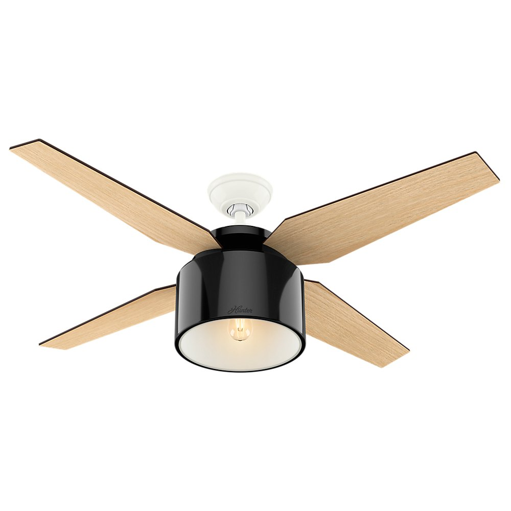 Hunter 59257 Contemporary Cranbrook Gloss Black Ceiling Fan With Light & Remote, 52''