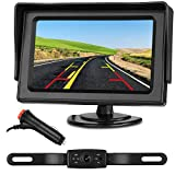 Emmako HD 720P Backup Camera System and 4.3' Monitor For Cars,SUVs,Vans,Pickups,Trucks,Rear/Front View Camera Adjustable, Guide Lines On/Off,Super Night Vision,IP69 Waterproof