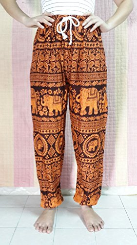 Relax Fit Pants Harem Orange Rayon Elephant Print - Stretch Free Size SML , 2 Pockets
