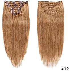 20''-100g 12 Clip In Hair Extensions Hairpiece Clip in 100% Remy Human Hair Extensions Grade 7A Quality Full Head 8 pcs Long Soft Silky straight (20''-100g 12)