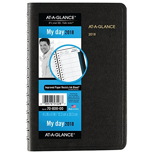 "AT-A-GLANCE Daily Appointment Book / Planner, January 2018 - December 2018, 4-7/8"" x 8"", Black (7080005)"
