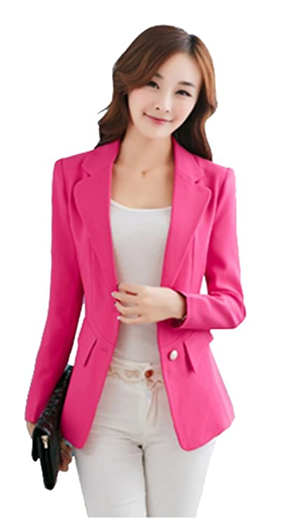 MWW Womens's Work Office Blazer OL Long Sleeve Suits Single-breasted Jacket Lightweight Boyfriend Business Blue Blazers