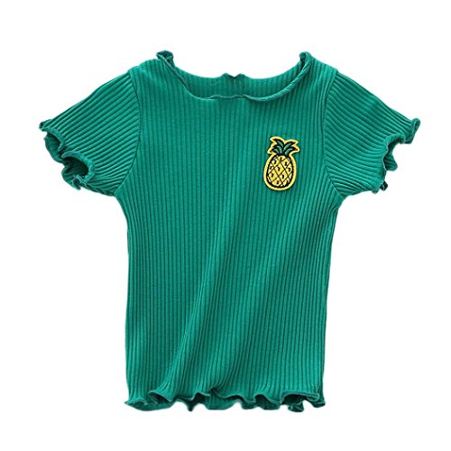 Jarsh Baby Girls Short Sleeve Tops, Simple Cartoon Candy Animal Fruit Printed Solid Clothes (Green, 24M(18-24Month)) Baby Phat Candy